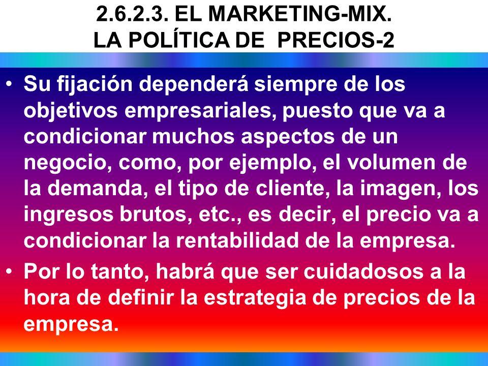 2.6.2.3. EL MARKETING-MIX. LA POLÍTICA DE PRECIOS-2
