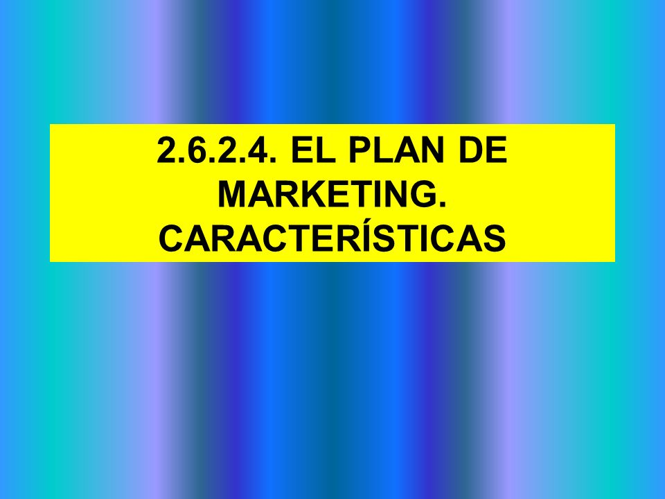 2.6.2.4. EL PLAN DE MARKETING. CARACTERÍSTICAS