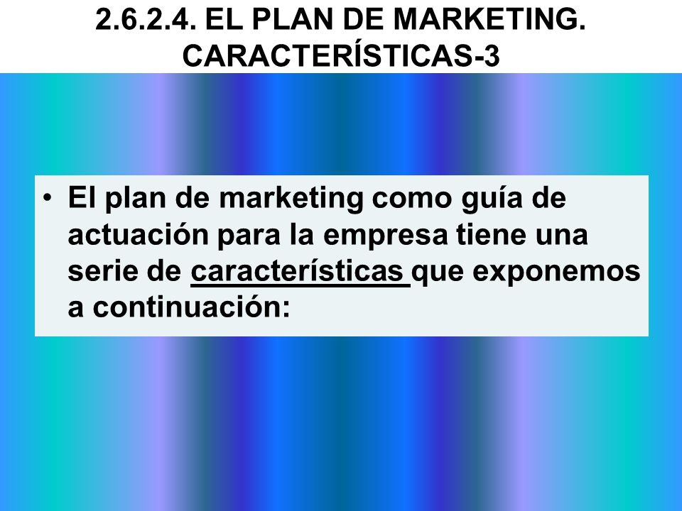 2.6.2.4. EL PLAN DE MARKETING. CARACTERÍSTICAS-3