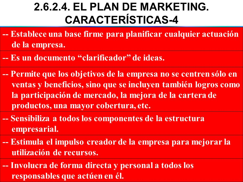2.6.2.4. EL PLAN DE MARKETING. CARACTERÍSTICAS-4