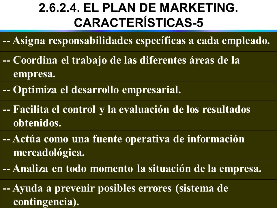 2.6.2.4. EL PLAN DE MARKETING. CARACTERÍSTICAS-5