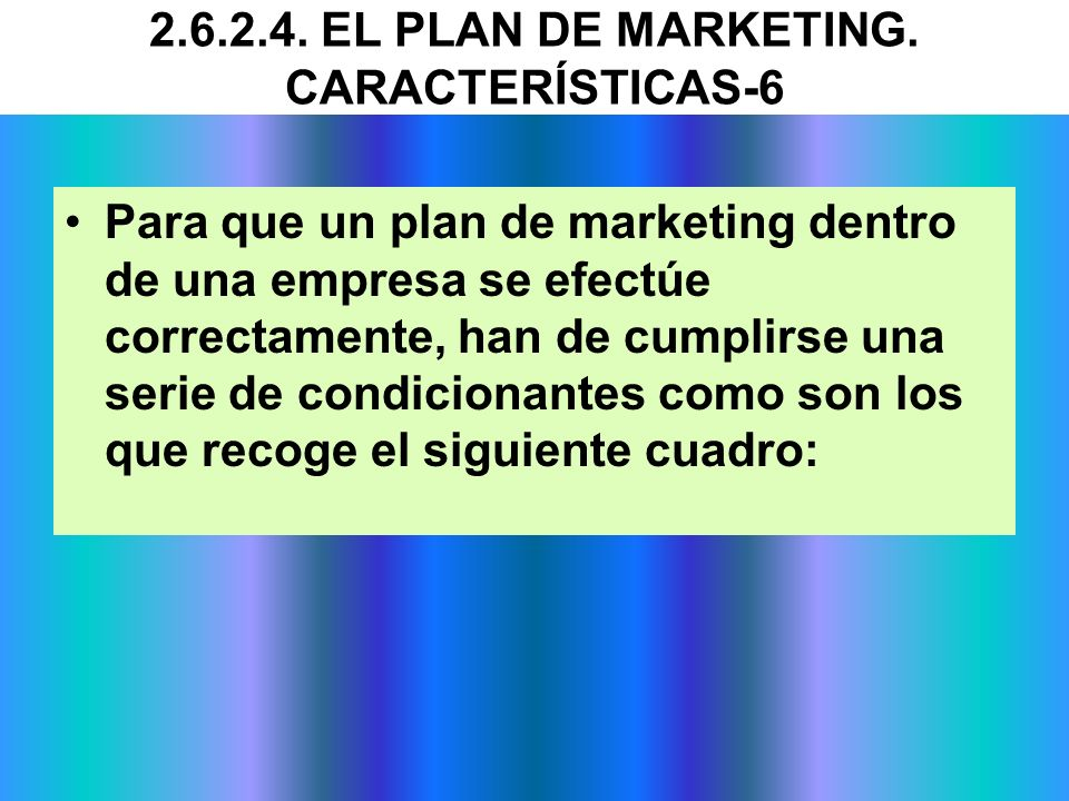 2.6.2.4. EL PLAN DE MARKETING. CARACTERÍSTICAS-6