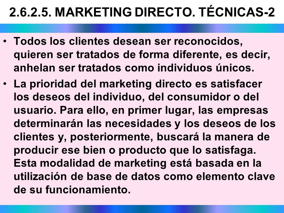 2.6.2.5. MARKETING DIRECTO. TÉCNICAS-2