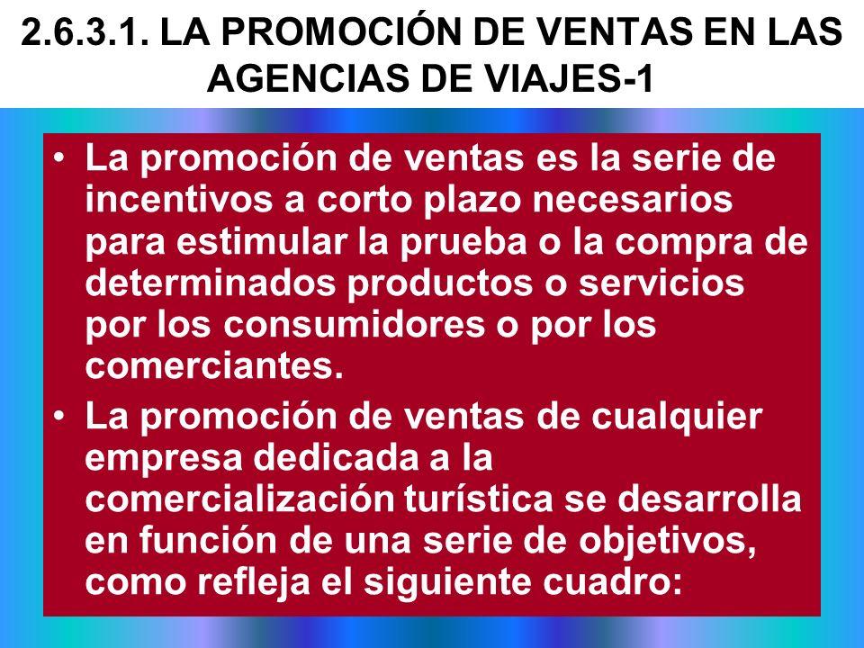 2.6.3.1. LA PROMOCIÓN DE VENTAS EN LAS AGENCIAS DE VIAJES-1
