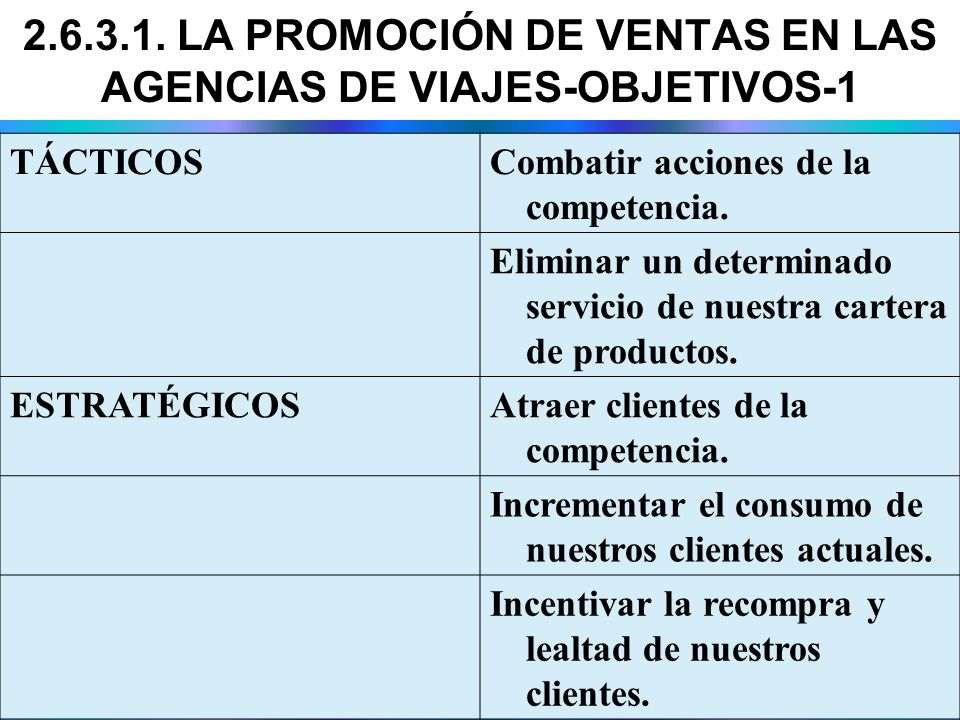 2.6.3.1. LA PROMOCIÓN DE VENTAS EN LAS AGENCIAS DE VIAJES-OBJETIVOS-1