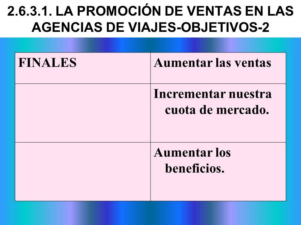 2.6.3.1. LA PROMOCIÓN DE VENTAS EN LAS AGENCIAS DE VIAJES-OBJETIVOS-2
