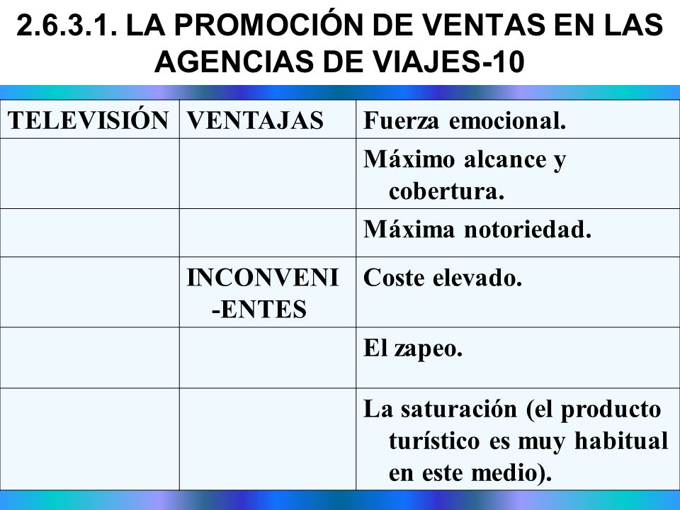 2.6.3.1. LA PROMOCIÓN DE VENTAS EN LAS AGENCIAS DE VIAJES-10
