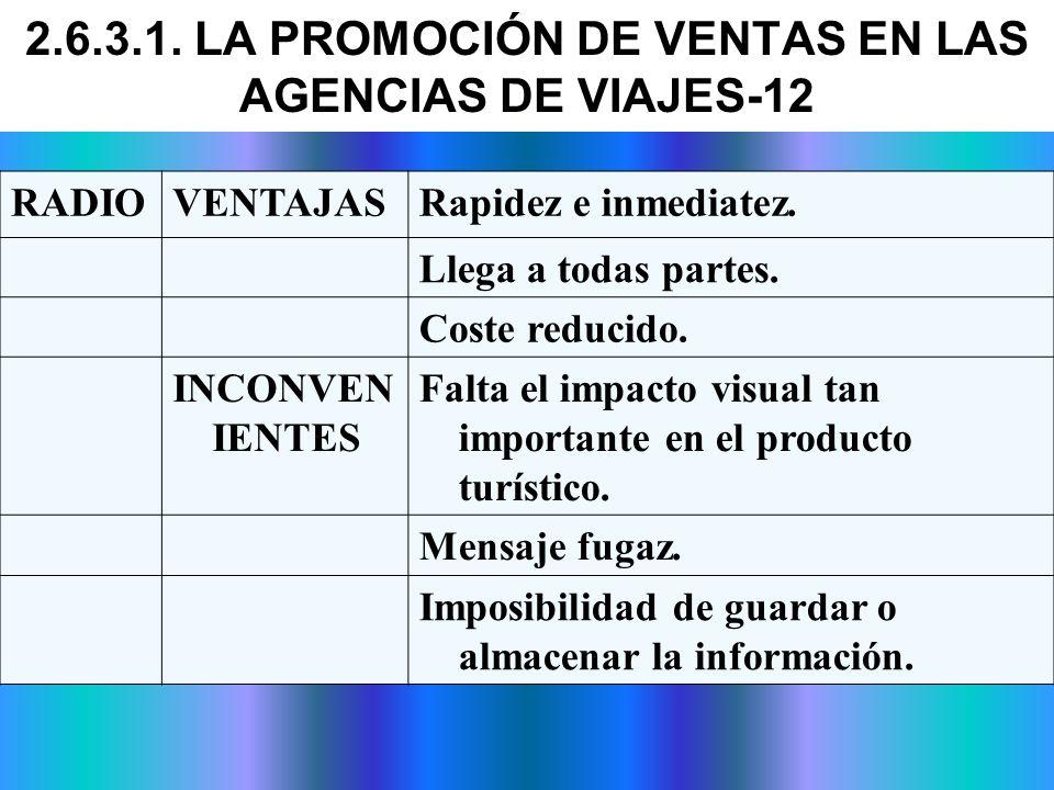 2.6.3.1. LA PROMOCIÓN DE VENTAS EN LAS AGENCIAS DE VIAJES-12