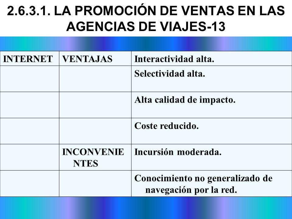 2.6.3.1. LA PROMOCIÓN DE VENTAS EN LAS AGENCIAS DE VIAJES-13