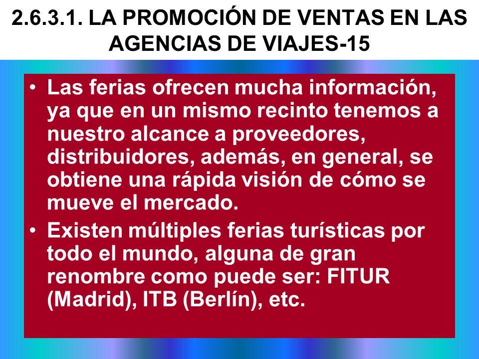 2.6.3.1. LA PROMOCIÓN DE VENTAS EN LAS AGENCIAS DE VIAJES-15