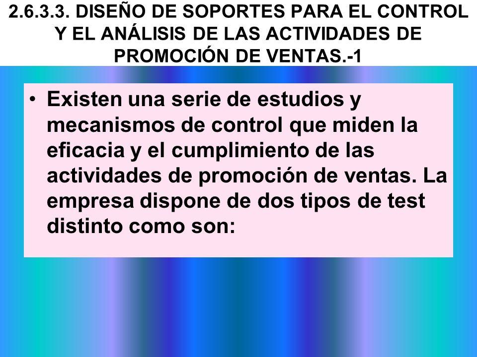 2.6.3.3. DISEÑO DE SOPORTES PARA EL CONTROL Y EL ANÁLISIS DE LAS ACTIVIDADES DE PROMOCIÓN DE VENTAS.-1