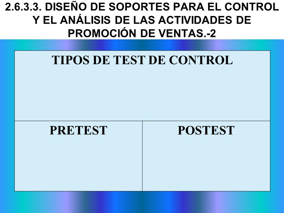 TIPOS DE TEST DE CONTROL