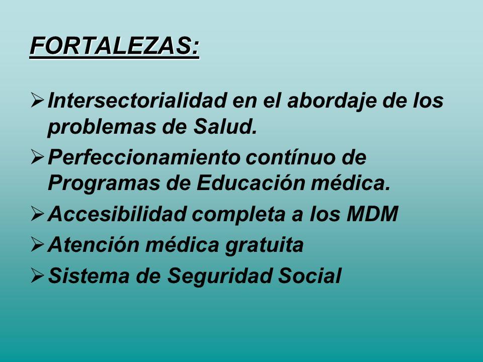 FORTALEZAS: Intersectorialidad en el abordaje de los problemas de Salud. Perfeccionamiento contínuo de Programas de Educación médica.