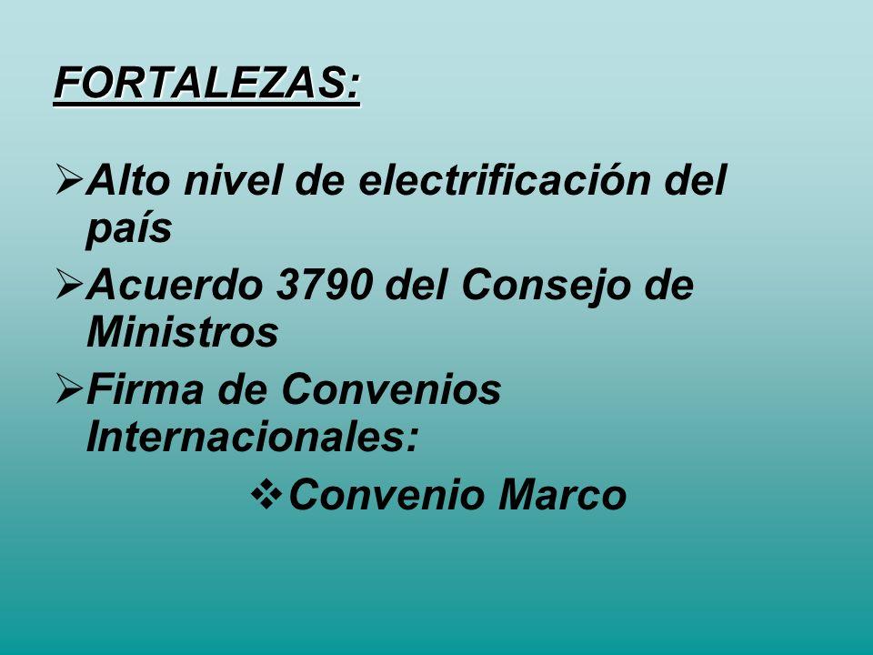 FORTALEZAS: Alto nivel de electrificación del país. Acuerdo 3790 del Consejo de Ministros. Firma de Convenios Internacionales: