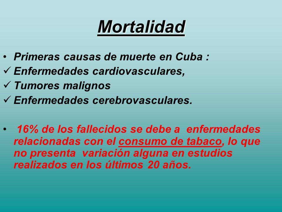 Mortalidad Primeras causas de muerte en Cuba :