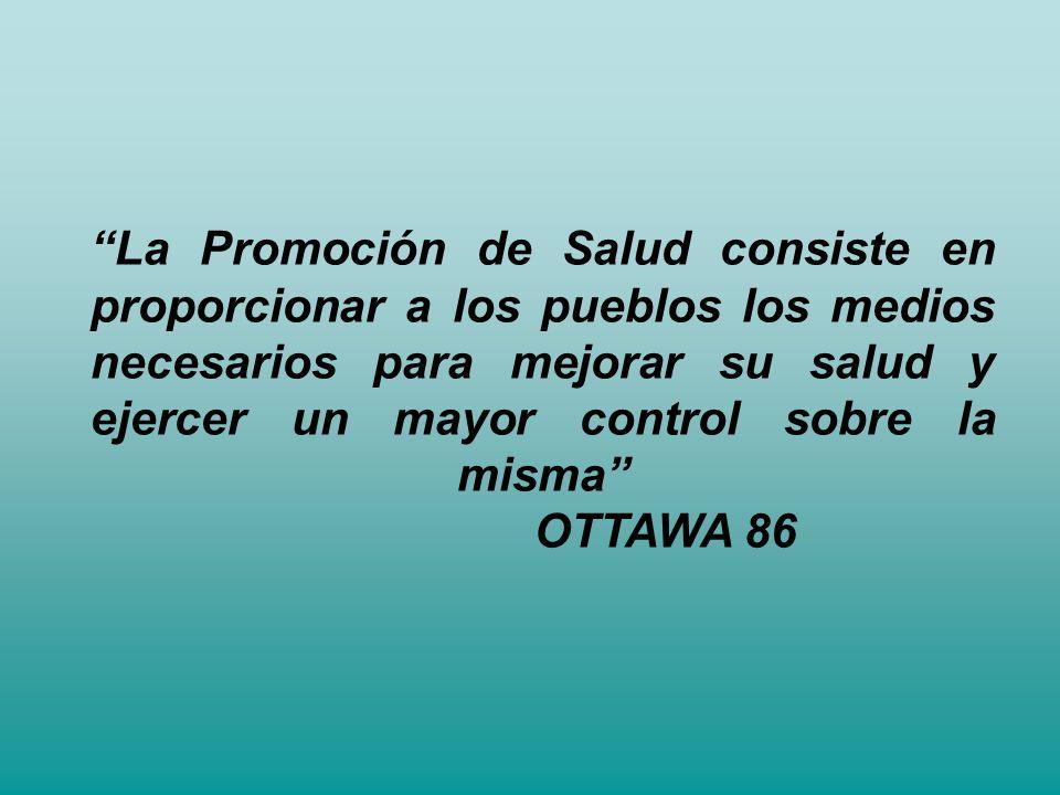 La Promoción de Salud consiste en proporcionar a los pueblos los medios necesarios para mejorar su salud y ejercer un mayor control sobre la misma OTTAWA 86