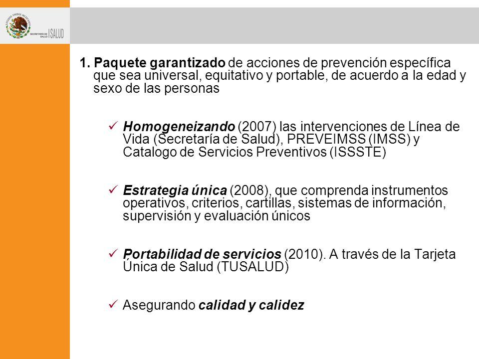 1. Paquete garantizado de acciones de prevención específica que sea universal, equitativo y portable, de acuerdo a la edad y sexo de las personas