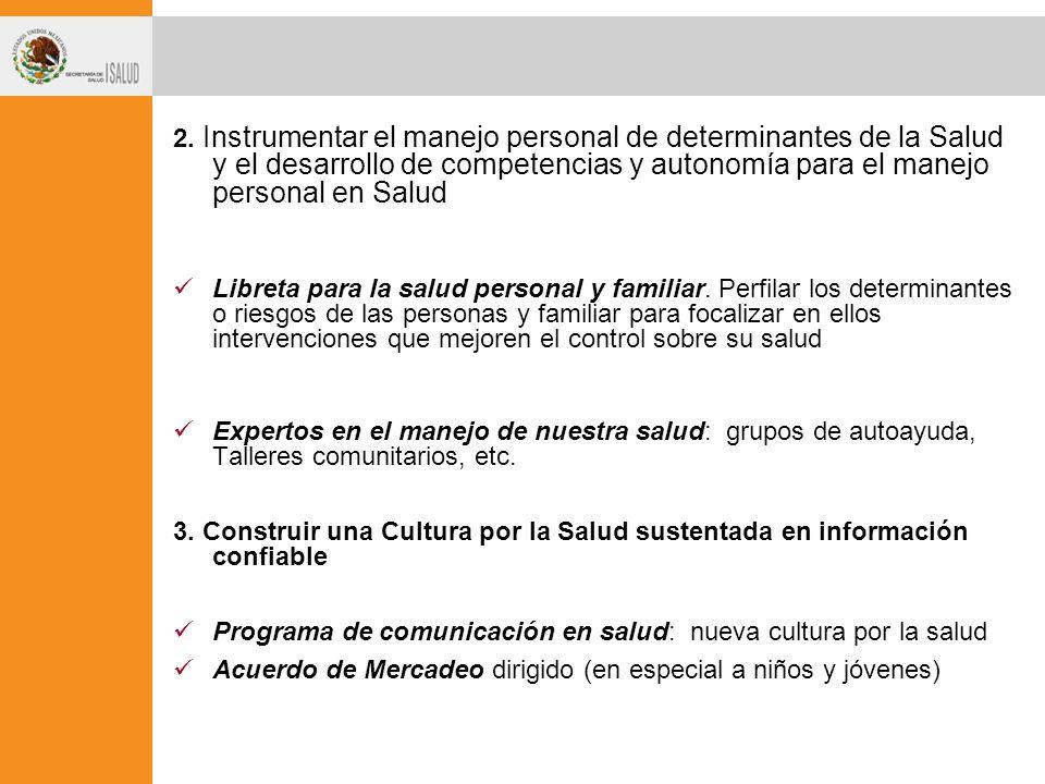 2. Instrumentar el manejo personal de determinantes de la Salud y el desarrollo de competencias y autonomía para el manejo personal en Salud