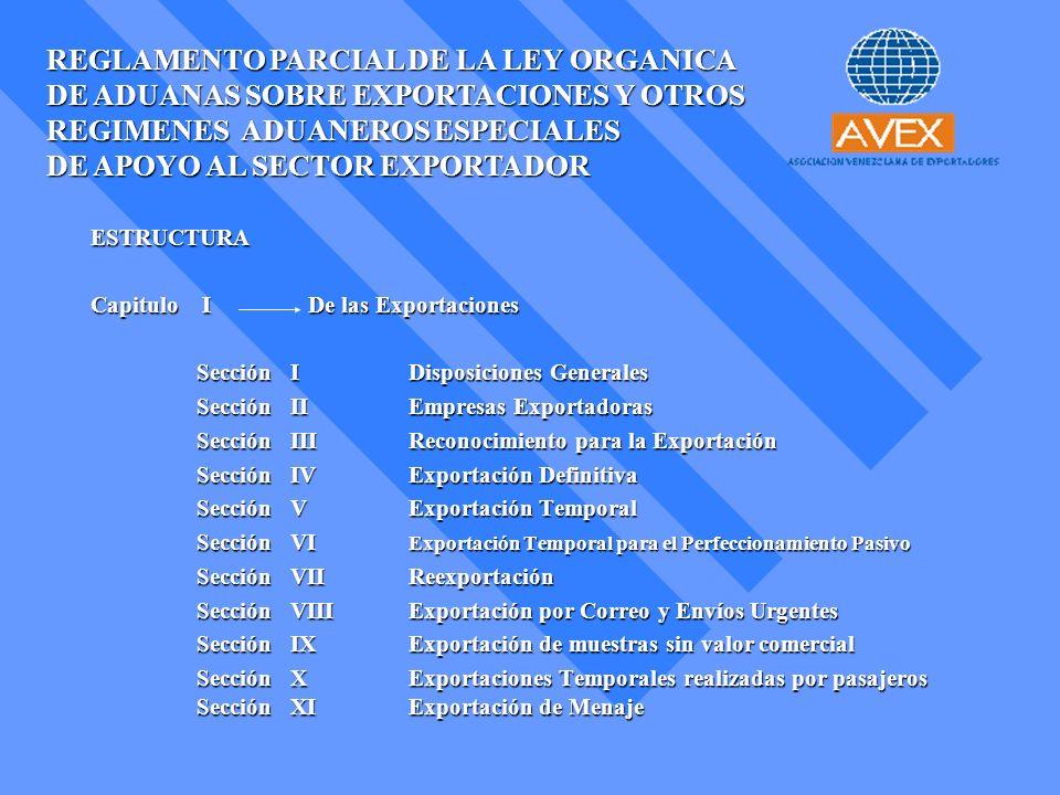 REGLAMENTO PARCIAL DE LA LEY ORGANICA DE ADUANAS SOBRE EXPORTACIONES Y OTROS REGIMENES ADUANEROS ESPECIALES DE APOYO AL SECTOR EXPORTADOR