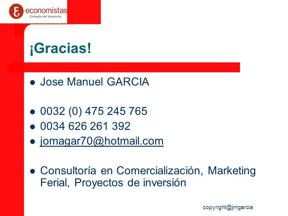 ¡Gracias! Jose Manuel GARCIA 0032 (0) 475 245 765 0034 626 261 392
