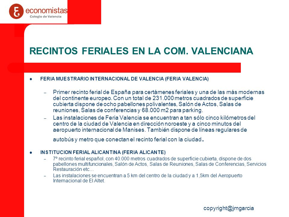 RECINTOS FERIALES EN LA COM. VALENCIANA