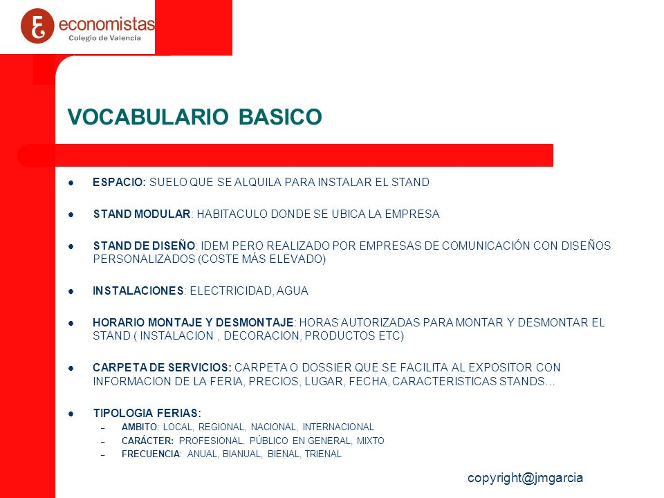 VOCABULARIO BASICO copyright@jmgarcia