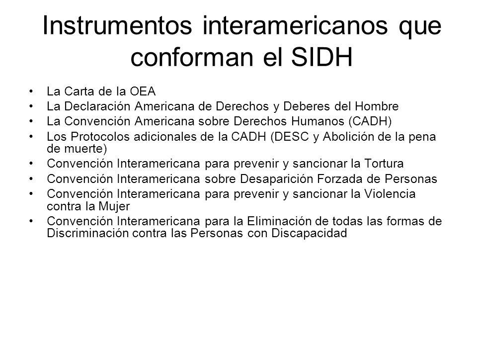 Instrumentos interamericanos que conforman el SIDH