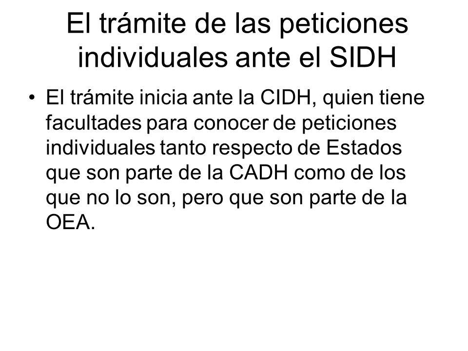 El trámite de las peticiones individuales ante el SIDH