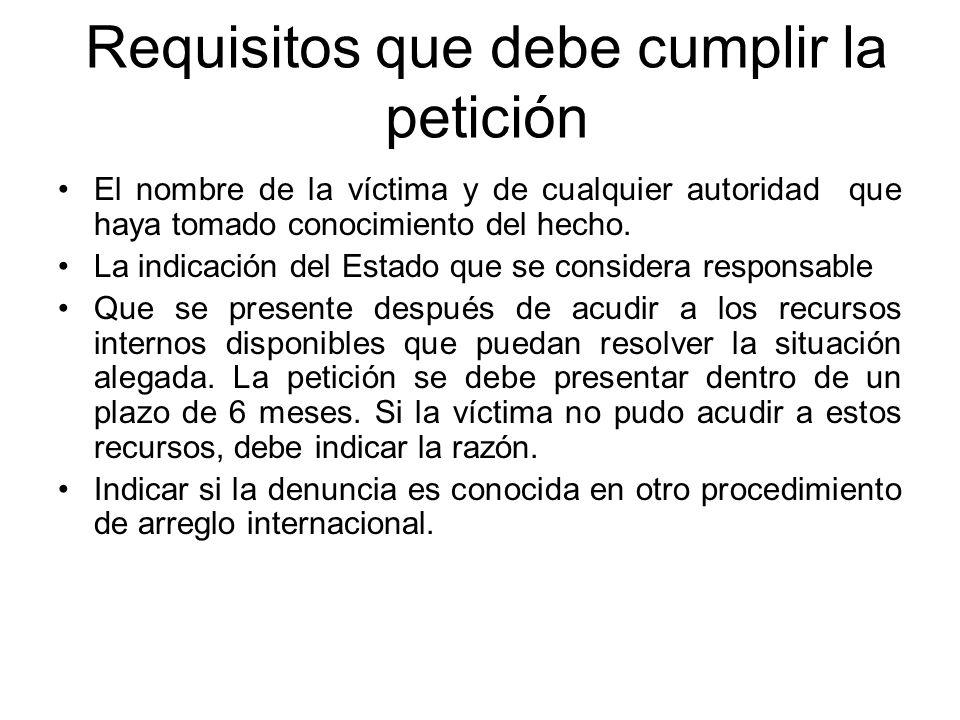 Requisitos que debe cumplir la petición