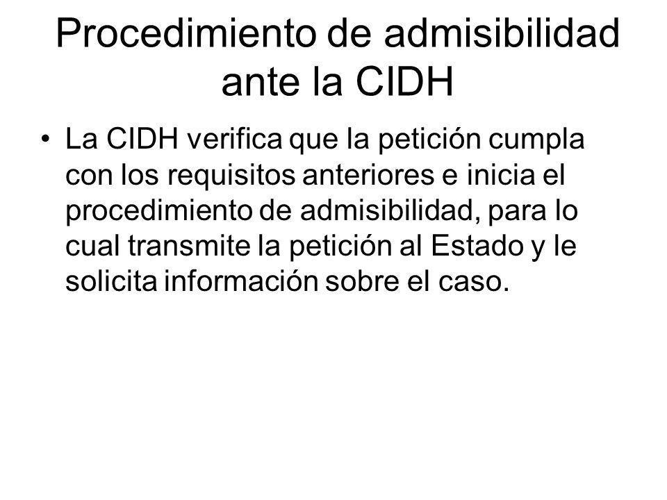 Procedimiento de admisibilidad ante la CIDH