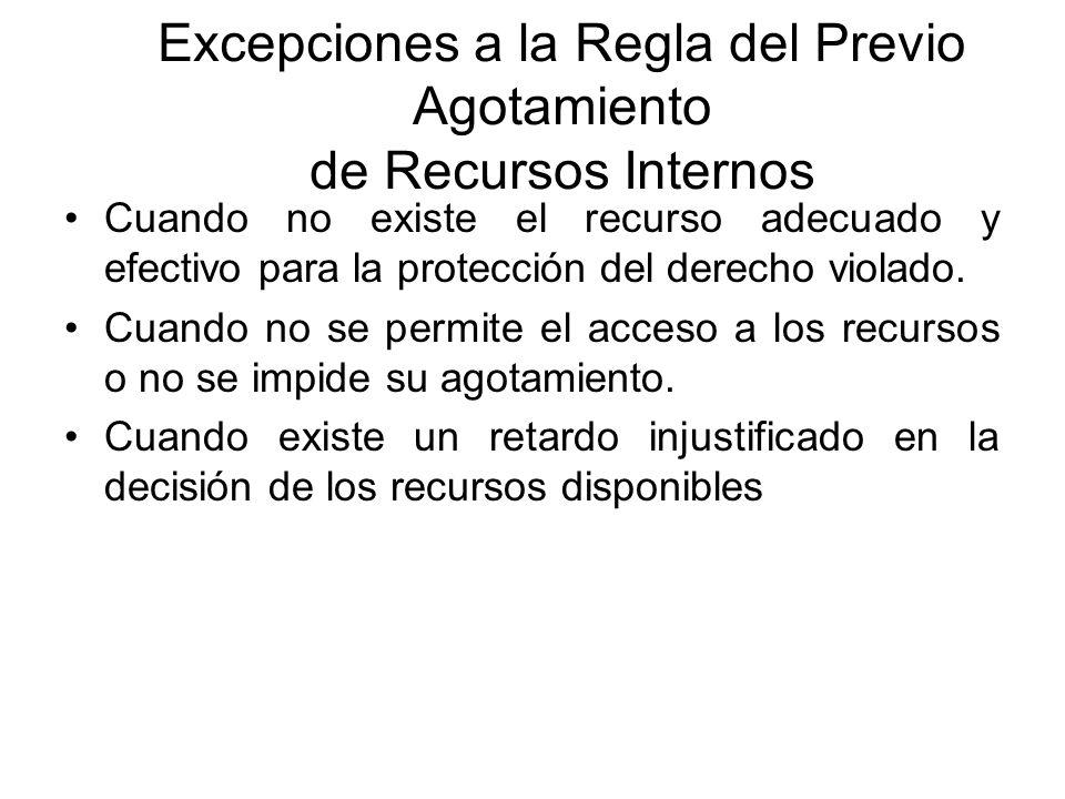 Excepciones a la Regla del Previo Agotamiento de Recursos Internos
