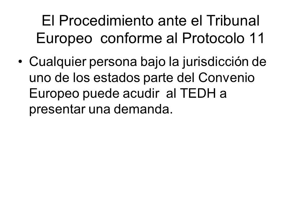 El Procedimiento ante el Tribunal Europeo conforme al Protocolo 11