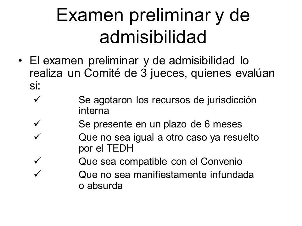Examen preliminar y de admisibilidad