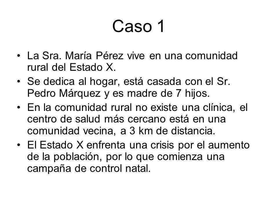 Caso 1 La Sra. María Pérez vive en una comunidad rural del Estado X.