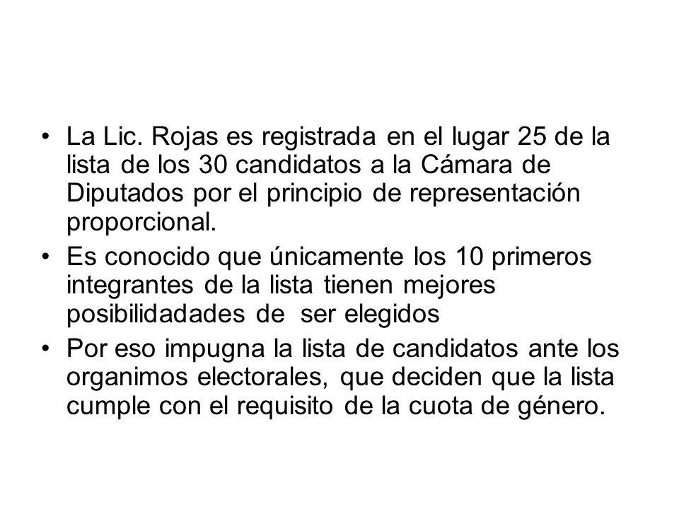 La Lic. Rojas es registrada en el lugar 25 de la lista de los 30 candidatos a la Cámara de Diputados por el principio de representación proporcional.