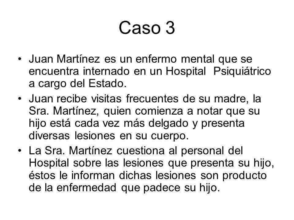 Caso 3 Juan Martínez es un enfermo mental que se encuentra internado en un Hospital Psiquiátrico a cargo del Estado.