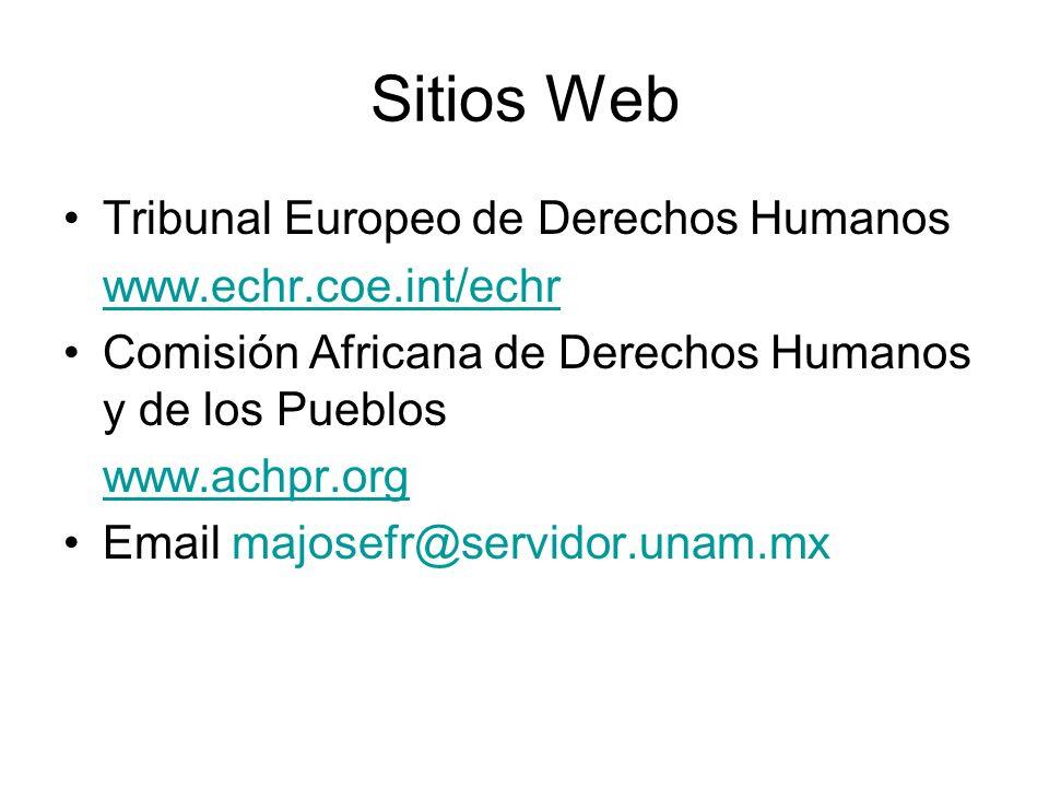 Sitios Web Tribunal Europeo de Derechos Humanos www.echr.coe.int/echr