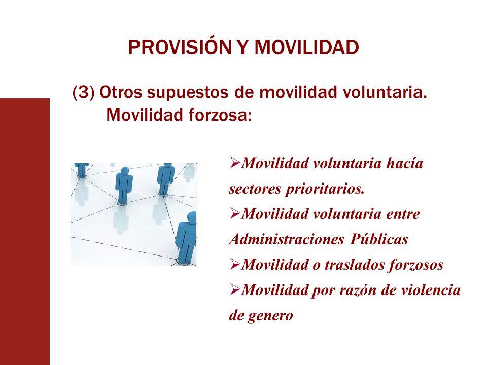 PROVISIÓN Y MOVILIDAD (3) Otros supuestos de movilidad voluntaria. Movilidad forzosa: Movilidad voluntaria hacía sectores prioritarios.
