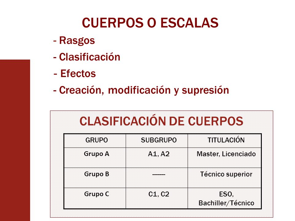 CUERPOS O ESCALAS CLASIFICACIÓN DE CUERPOS Rasgos