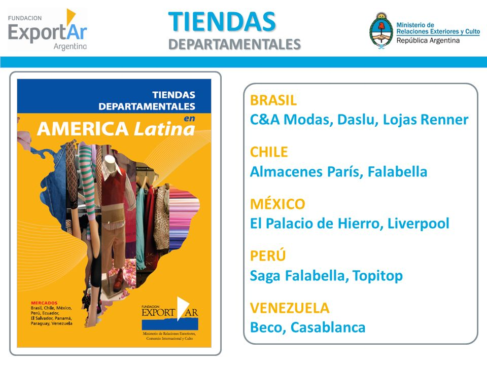 TIENDAS DEPARTAMENTALES BRASIL C&A Modas, Daslu, Lojas Renner CHILE