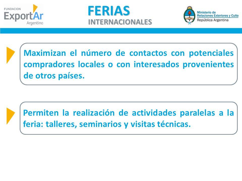 FERIAS INTERNACIONALES. Maximizan el número de contactos con potenciales compradores locales o con interesados provenientes de otros países.