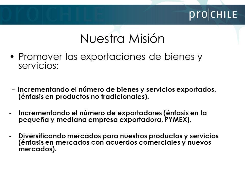 Nuestra Misión Promover las exportaciones de bienes y servicios: