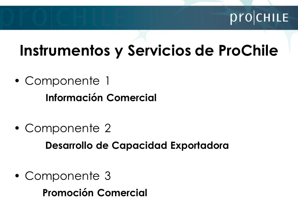 Instrumentos y Servicios de ProChile