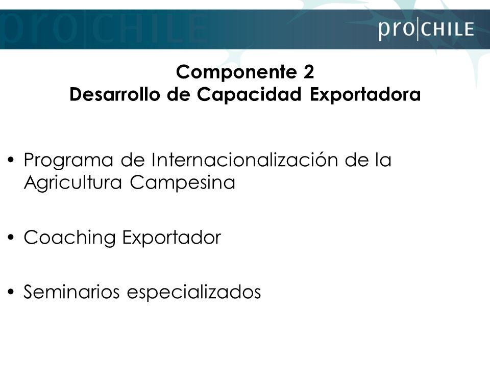 Componente 2 Desarrollo de Capacidad Exportadora