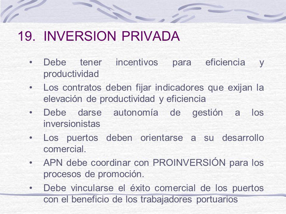 INVERSION PRIVADA Debe tener incentivos para eficiencia y productividad.