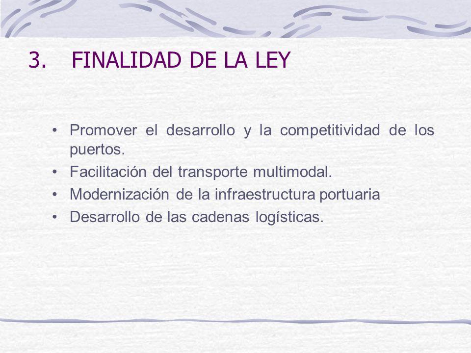 FINALIDAD DE LA LEY Promover el desarrollo y la competitividad de los puertos. Facilitación del transporte multimodal.