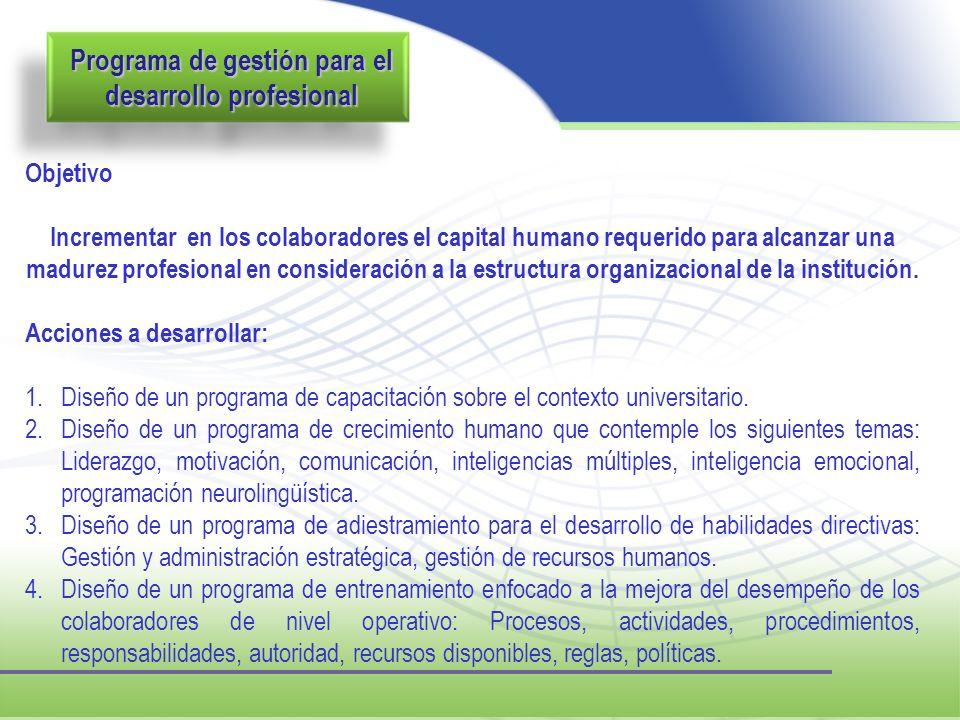 Programa de gestión para el desarrollo profesional