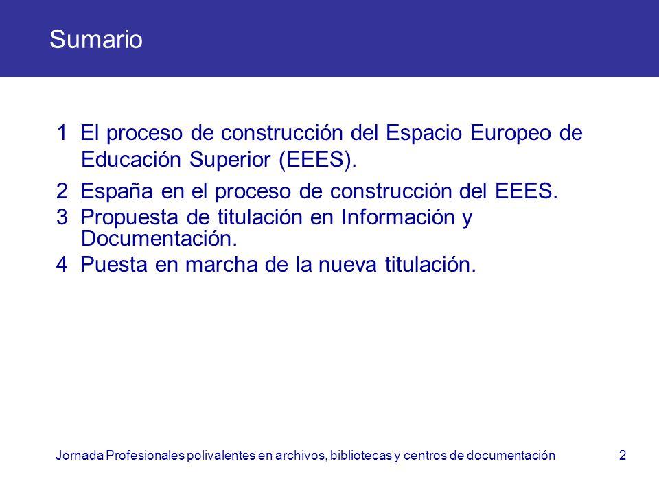 Sumario 1 El proceso de construcción del Espacio Europeo de Educación Superior (EEES). 2 España en el proceso de construcción del EEES.