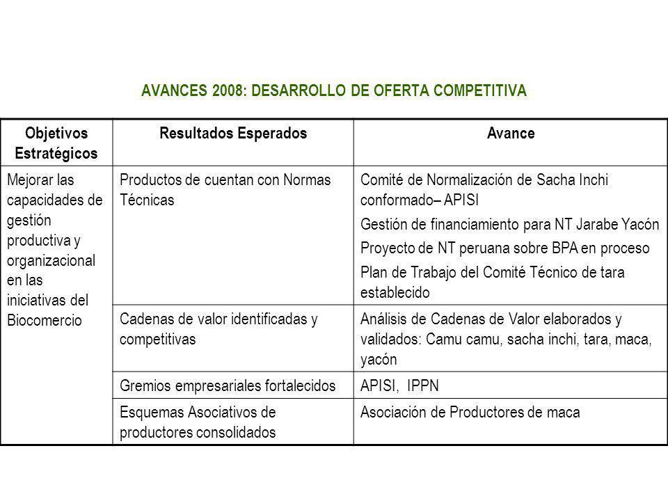AVANCES 2008: DESARROLLO DE OFERTA COMPETITIVA