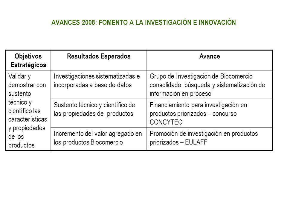 AVANCES 2008: FOMENTO A LA INVESTIGACIÓN E INNOVACIÓN
